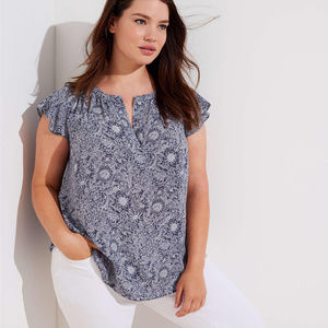 LOFT Plus Flutter Mixed Media Top Blouse